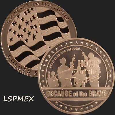 USA Flag 1 oz Copper USA Made BU Round Home Of The Free Because Of The Brave