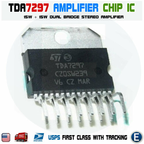 TDA7297 Amplifier ic chip Dual Bridge Stereo 15W Amp 15 pin 12V ST