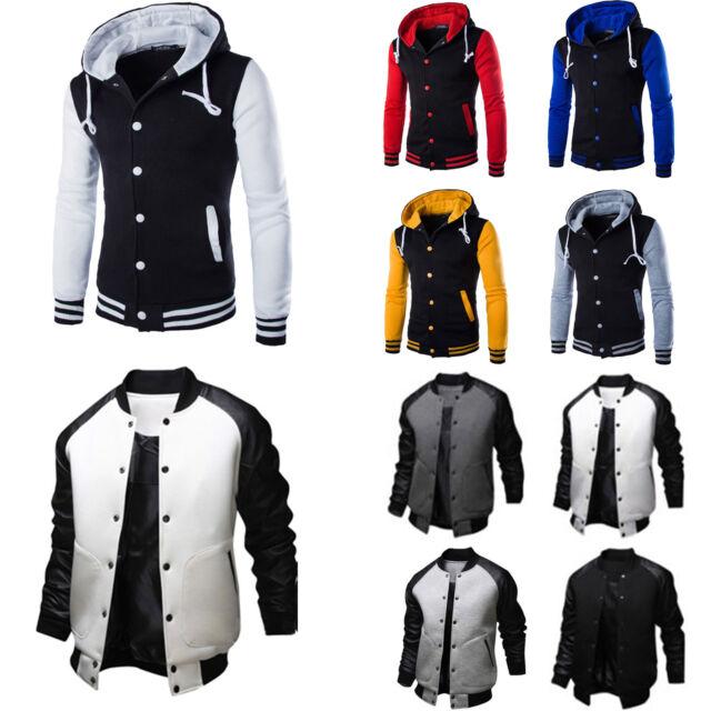 Men/'s Varsity University College Baseball Jacket Coat Hoodies Sweatshirt Outwear