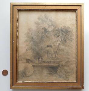 Victorian-pencil-drawing-Framed-landscape-picture-art-HF-bridge-trees-12-034-x-14-034