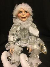 """Katherine's Collection Retired 30"""" Carnaval Silver Christmas Elf Doll New"""