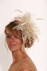 Image Is Loading Cream Amp Taupe Wedding Fascinator Hat Any