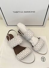 NEW Auth Tabitha Simmons Juniper White & Beige Leather Sandals Shoes  IT Sz 38 8