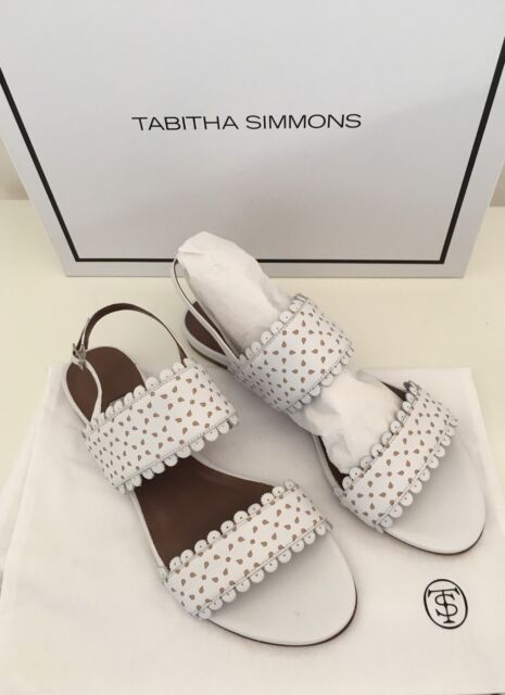 f3607829b19a NEW Auth Tabitha Simmons Juniper White   Beige Leather Sandals Shoes IT Sz 38  8