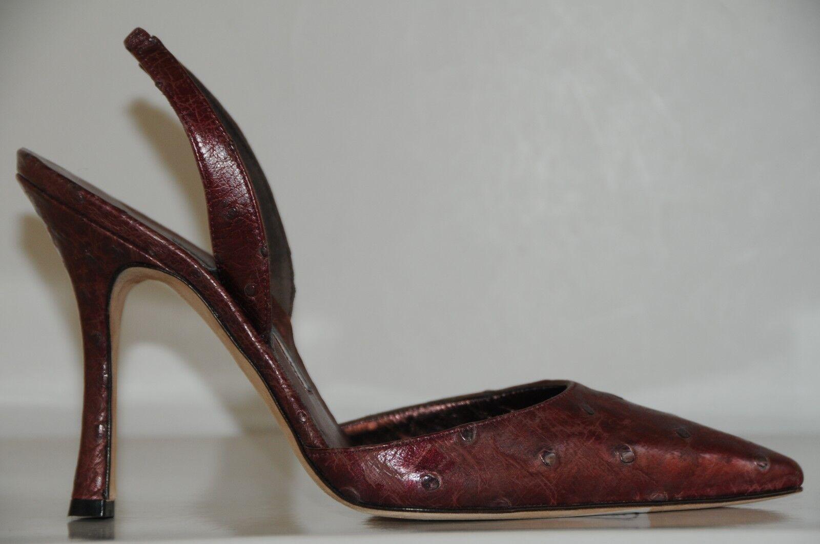 100% autentico Nuovo Nuovo Nuovo Manolo Blahnik Amebo Carolyne Fragole Rosso Scarpa con Cinturino Sul Retro  tempo libero