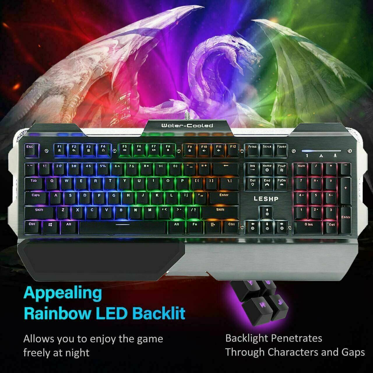Gaming Keyboard 3 Color Backlit PC Mechanical Backlight Wired LED Illuminated