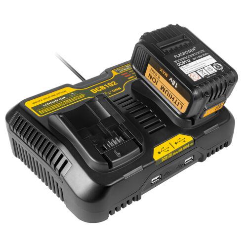 DCB102 12V-20V MAX Dual Charger For Dewalt DCB200 DCB115 DCB120 Li-ion Battery
