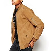 Custom Tailor Made Short Lambskin Suede Leather Jacket Light Brown Bomber