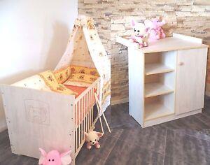 Babyzimmer Komplett Set Babybett Kommode Gitterbett 5 Farben 70x140