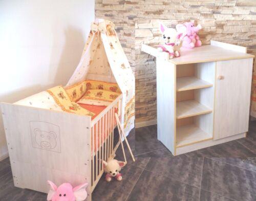Babyzimmer Komplett Set Babybett Kommode Gitterbett 5 Farben 70x140 Umbau weiß