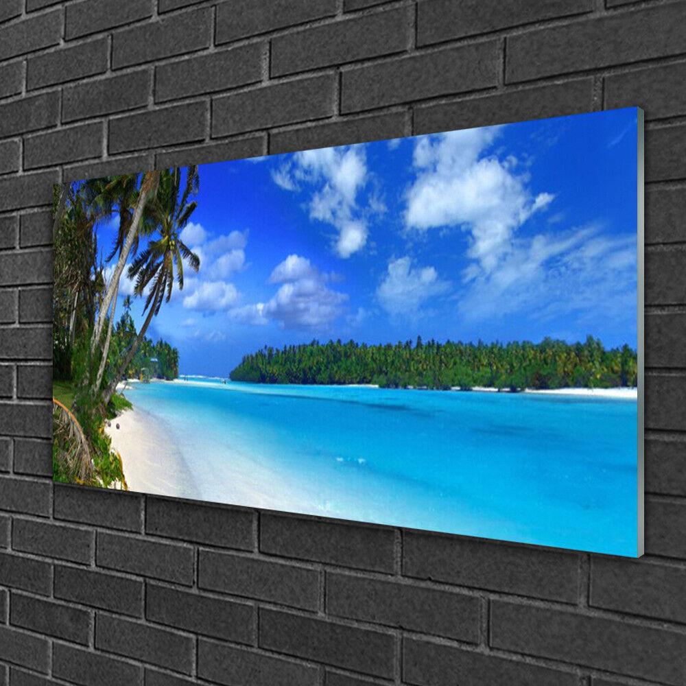Tableau sur verre Image Impression 100x50 Paysage Palmes Plage Mer Du Sud