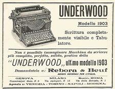 Y2186 Macchine per scrivere UNDERWOOD - Pubblicità del 1903 - Old advertising