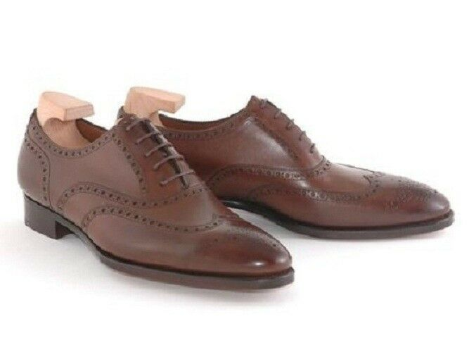 Handmade Men Brown Wing Tip Brogue Formal shoes, Men Brown leather Dress shoes