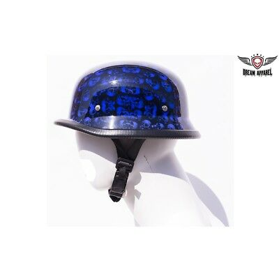 Blue German Helmet with Skull Graveyard /& Chopper Cross