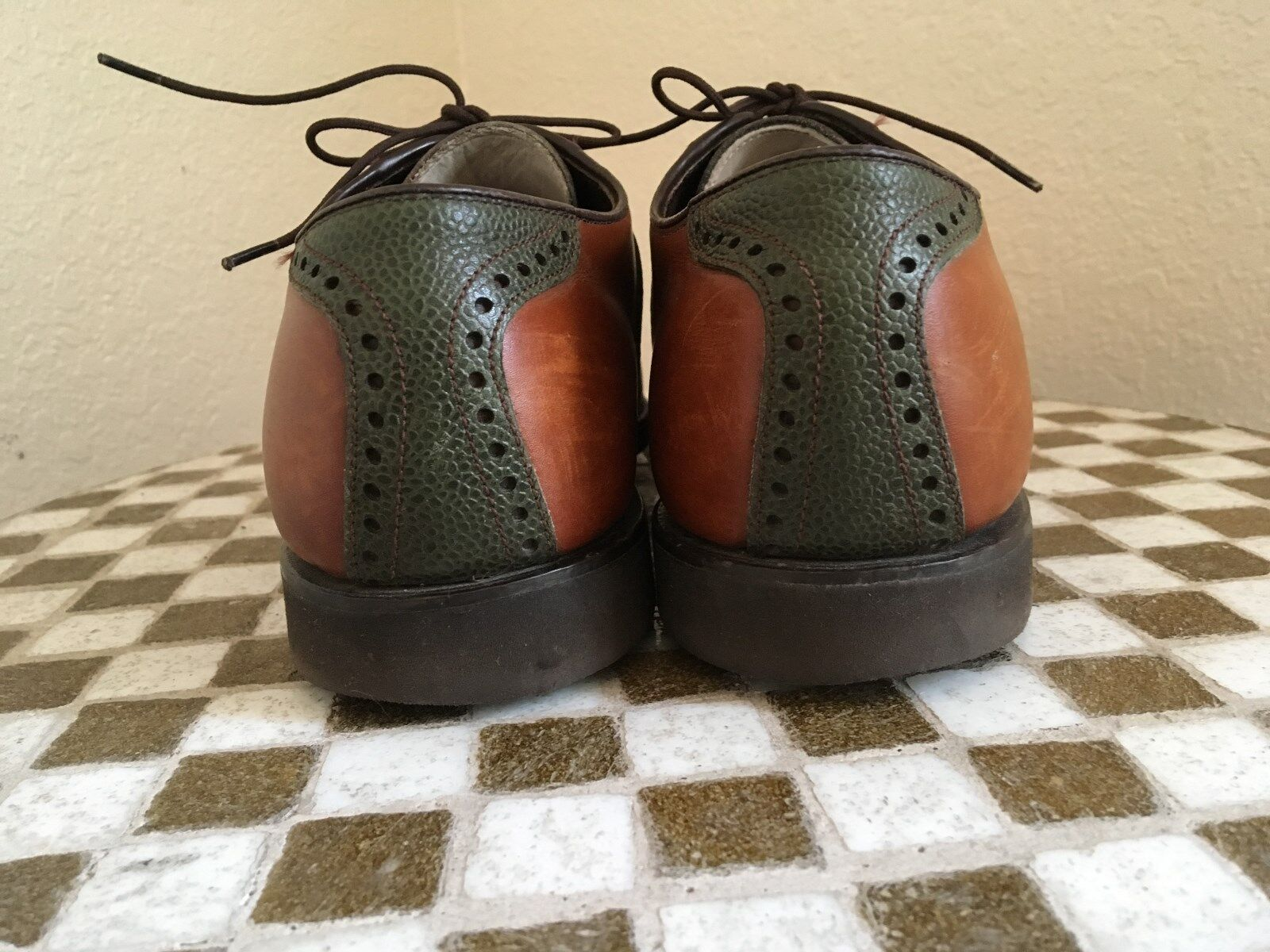 MADE IN USA USA IN BROWN GREEN FOOTJOY CLASSIC SLIP ON DRIVING WALKING POWER SHOES 10 C 95a3b2
