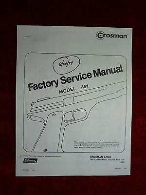Crosman 451 Factory Service Manual With Exploded View /& Parts List Military 45