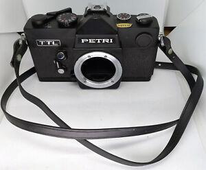 Anni 1970 M42 Nero PETRI TTL 35mm Pellicola SLR Fotocamera immagini fisse, CASE, Cinturino & Flash