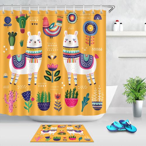 "Bird 72X72/"" Colorful Summer With Llama Flowers Cacti Shower Curtain Set Mat"