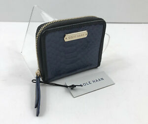 Cole-Haan-Carrington-Mini-Zip-Navy-Blue-Graphite-Wallet-Small-Leather-98-NWT