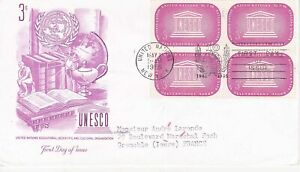 United-Nations-NY49-Enveloppe-1er-jour-1955-Unesco-3c