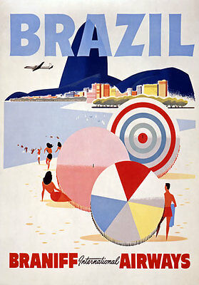 TX137 Vintage Brazil Braniff Airways Travel Tourism Poster Re-Print A4