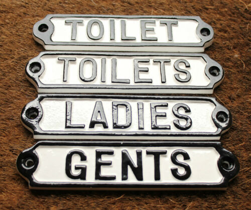 TOILETS//LADIES//GENTS TOILET SIGNS VINTAGE ANTIQUE SHABBY CAST IRON WHITE STYLE