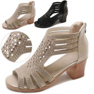 Fashion-Women-Hollow-Cut-Out-Peep-Toe-Mid-Heel-Sandals-Zipper-Casual-Dress-Shoes