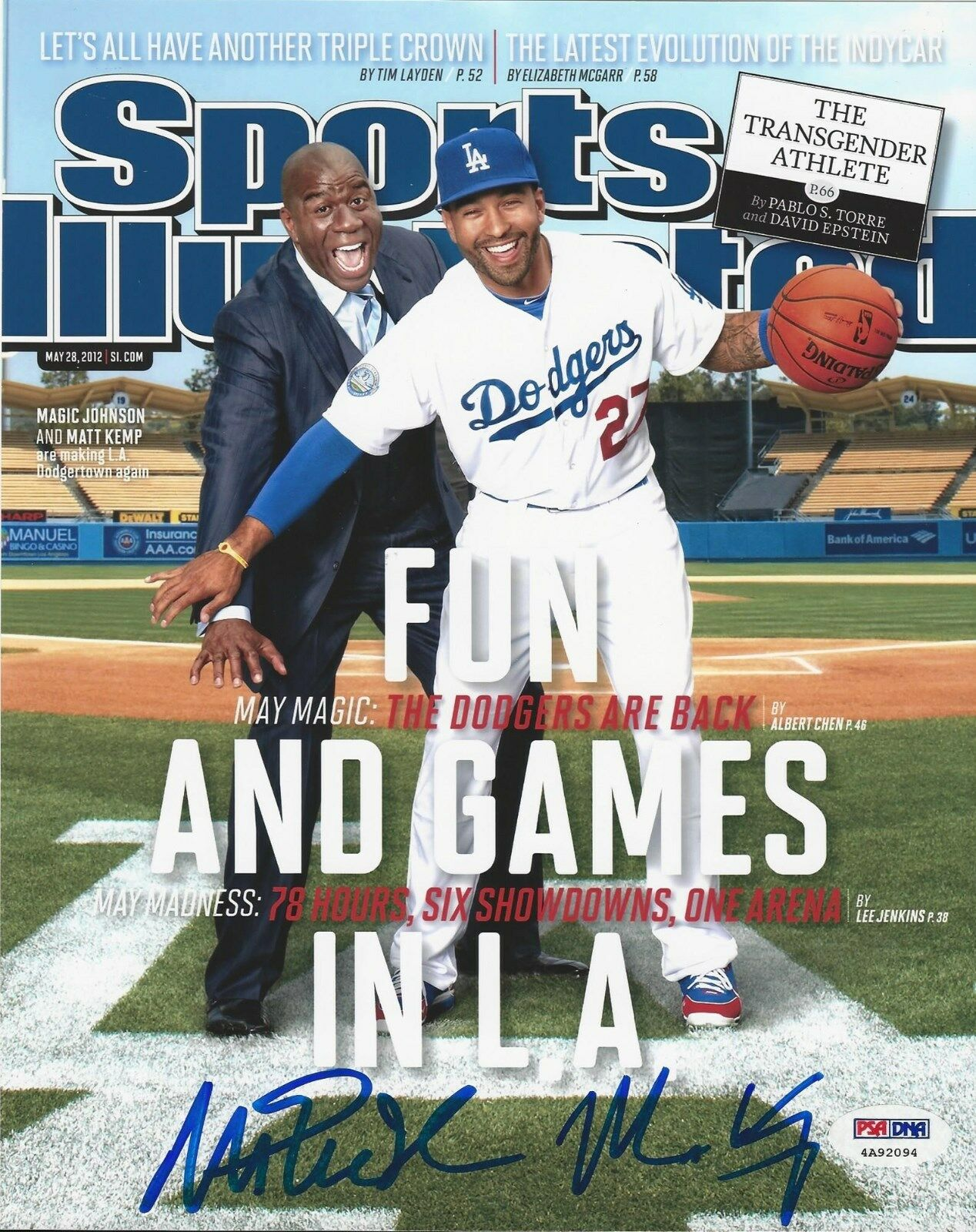 Matt Kemp and Magic Los Angeles Dodgers signed 8x10 photo PSA/DNA # 4A92094
