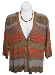Flyaway Cardigan Sweater Plus Size 2X 20W 22W Multi Single Closure Striped CWC