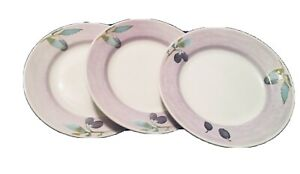 Pier-1-Salad-Plates-Olive-Mist-Purple-Olives-8-034-Set-Of-3