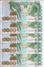 SAINT THOMAS-SAO TOME. LOT 5x 10000 DOBRAS 2013. UNCIRCULATED. 3RW 30NOV