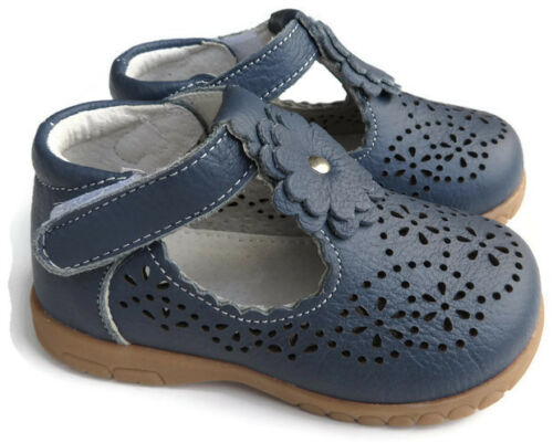 Real Leather girls Bonnie shoes blue navy TBar flower baby toddler kids footwear