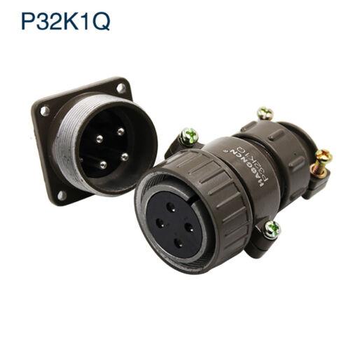 P32 4-19Pin Screw Type Aviation Plug Socket Multipole Connector Bulkhead 4 Hole
