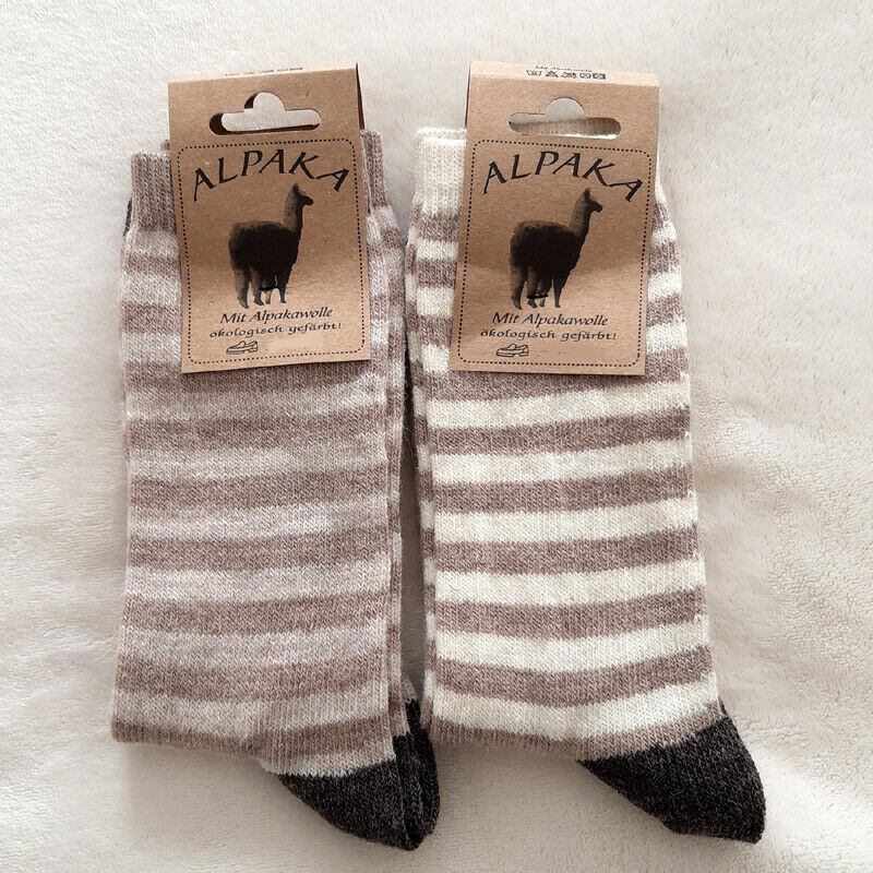 2 Paar Damen Ringel Wollsocken Alpaka extra weich 100% Wolle Braun-Beige 35 - 42