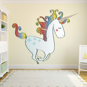 Image Is Loading Large Unicorn Wall Sticker Nursery Wall Decal Girls