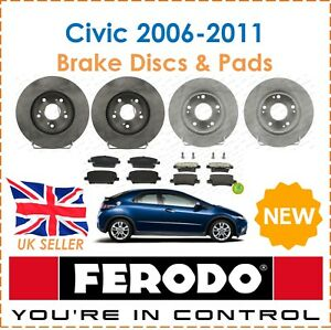 For-Honda-Civic-1-8-2-2-CDTi-2006-2011-FERODO-Brake-Discs-amp-Pads-Front-amp-Rear