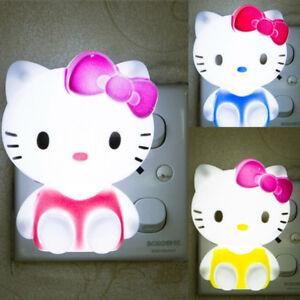 Hello-Kitty-LED-Night-Light-Energy-Saving-Nursery-Bedside-Plug-in-Hall-Wall-Lamp