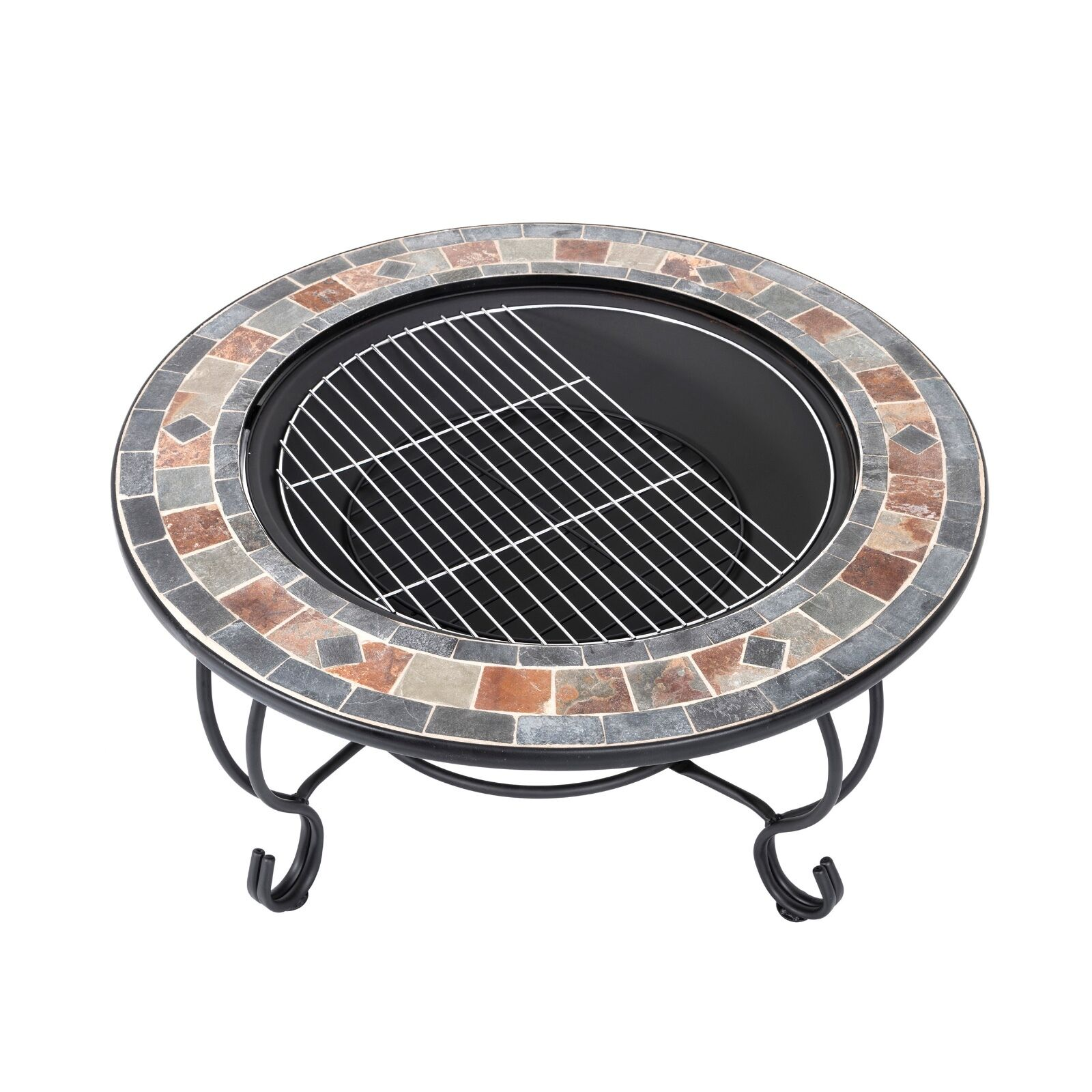 Round Outdoor Garden Tiled Slate Coffee Table And Fire Pit