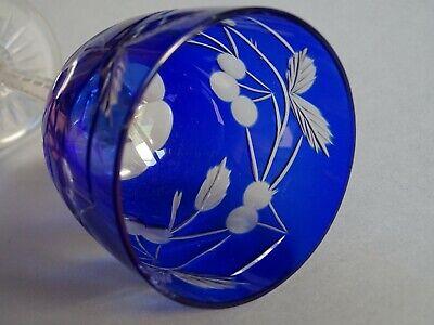 1 Ancien Verre A Vin Du Rhin Roemer Cristal Bleu Ht 20 Cm Grappes De Cerises Aangenaam Om Te Proeven