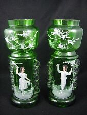 Antique Victorian Mary Gregory - Pair Green Art Glass Vases - Boy Girl - Enamel