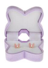 9ct oro smalto rosa con farfalle bottone / borchie / orecchino / scatola regalo