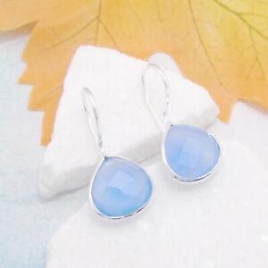 Chalcedon-blau-Design-Ohrringe-Haenger-Haken-Ohrhaenger-925-Sterling-Silber-neu