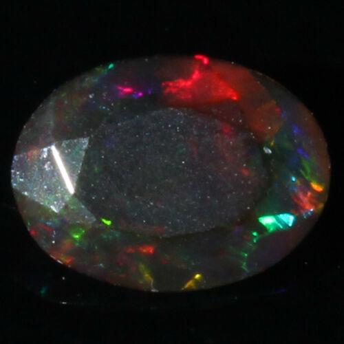 Natural Ethiopian Welo Fire Black Opal Faceted Cut Stone Gemstone A+++