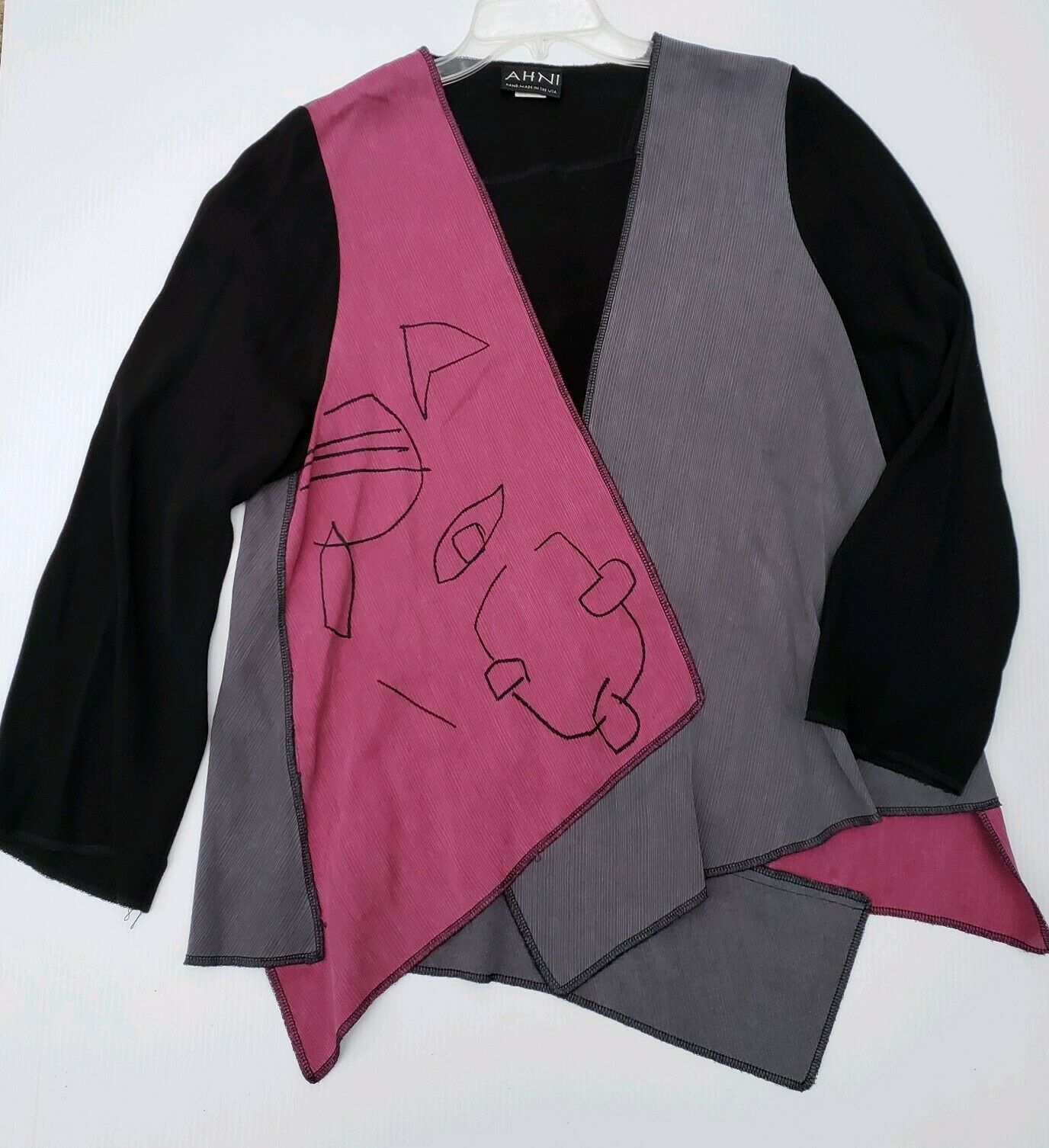 AHNI Größe 1 Farbeblock Contrast Panels Tunic Top Art to Wear Lagenlook