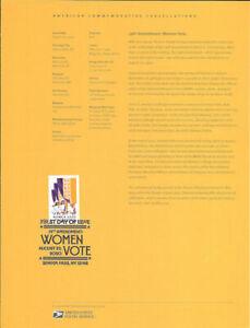 #2024 (55c} (Forever) 19th Amendment: Womens Vote #5523 Souvenir Page