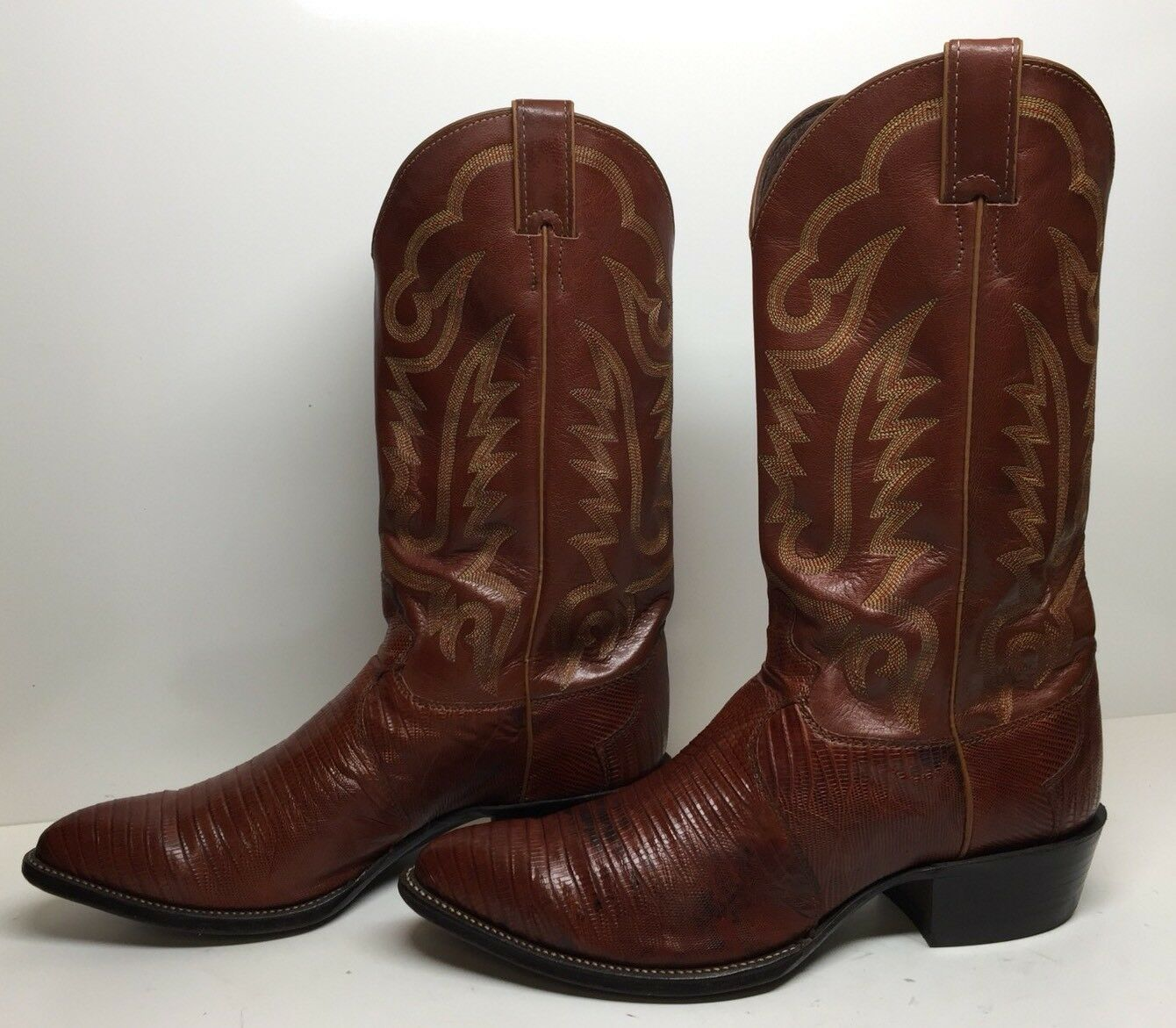 E MENS  JUSTIN  COWBOY LIZARD SKIN BROWN BOOTS SIZE 9.5 EE