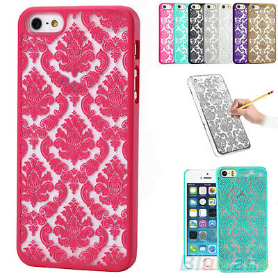 """New Rubberized Damask Pattern Case Cover For iPhone 4 4S 5 5S 6 4.7"""" Plus 5.5''"""