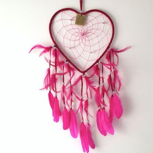 New Bright Pink Amor Corazón atrapasueños Móvil Colgante Nativo Americano