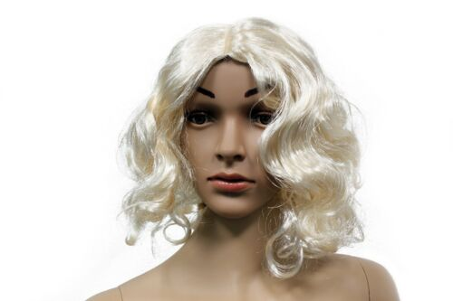 Blonde Short Curly Hair Wig Halloween Costume Gold Hair Dress Up Prop Accessory