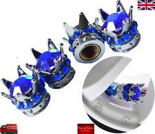 Corona De Plata Azul Piedra De Diamante De Aleación Coche Neumático Neumático Válvula Polvo gorras Covers Set 4
